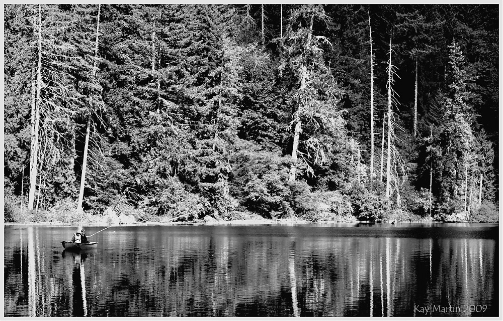 photoblog image fishing in the northwest - in black & white